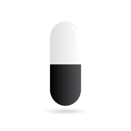 white pills: Medicine - pill or capsule vector icon on white background