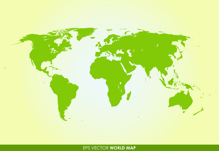 Detailed world map in green color  - vector icon Vector
