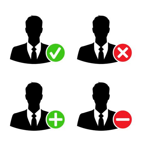 accepter: ic�nes d'affaires avec ajouter, supprimer, accepter et signes de bloc - concept de r�seau social Illustration