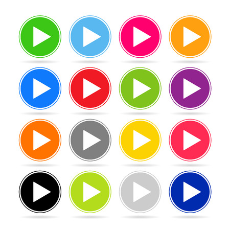 Play icons in colorful collection Vector