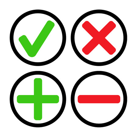 subtraction: Add, delete, cross & check mark icons - can be used as website, application & social media interface buttons