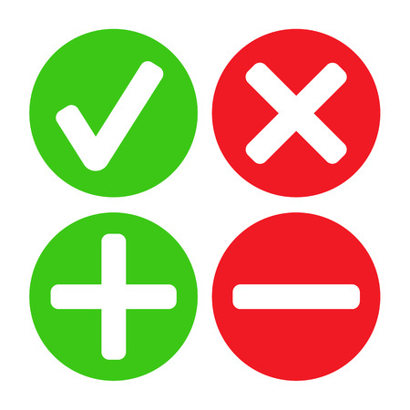 Add, delete, cross & check mark icons - can be used as website, application & social media interface buttons Vector