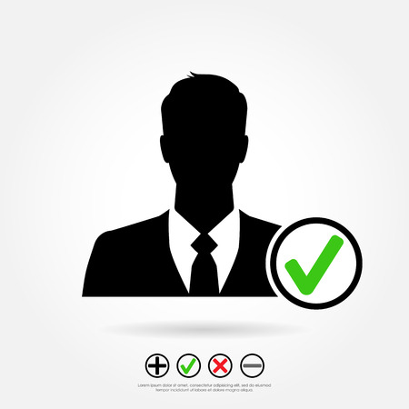 add button: Businessman icon with check mark - including set of other symbols