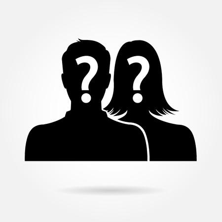 Male & female silhouette icon - couple & partner concept 일러스트