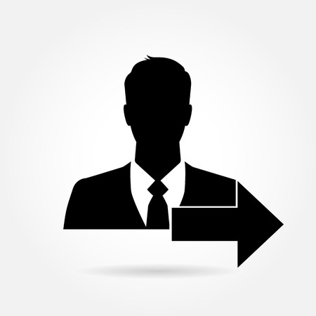 more information: Businessman icon with arrow - can be used as add friend, friend request, more information button etc.