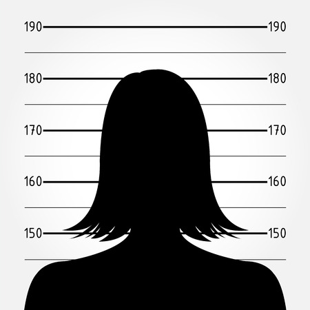 female cop: Silhouette of  anonymous woman in mugshot or police lineup Illustration