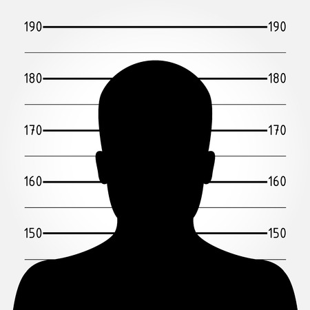 lineup: Silhouette of  anonymous man in mugshot or police lineup Illustration