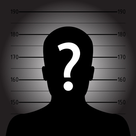 busted: Silhouette of  anonymous man in mugshot or police lineup Illustration