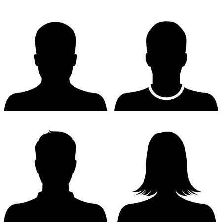 female sex: Silhouette avatar profile picture icon set