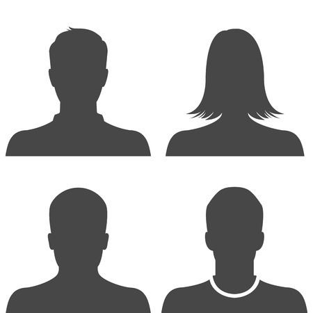 man and woman sex: Silhouette avatar profile picture icon set