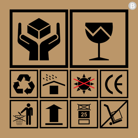 handling: Cargo handling icons used beside the boxes and packaging Illustration