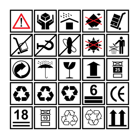 Cargo handling icons used beside the boxes and packaging Illustration