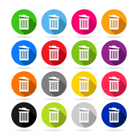 garbage can: Trash can or garbage bin icons in colorful set - can be used as delete signs