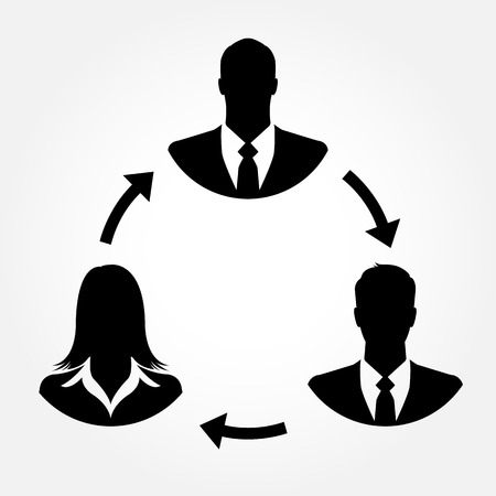 Businesspeople icons linking with arrows - teamwork, connection & relationship concept Vector