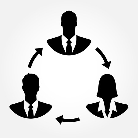 linking: Businesspeople icons linking with arrows - teamwork, connection & relationship concept