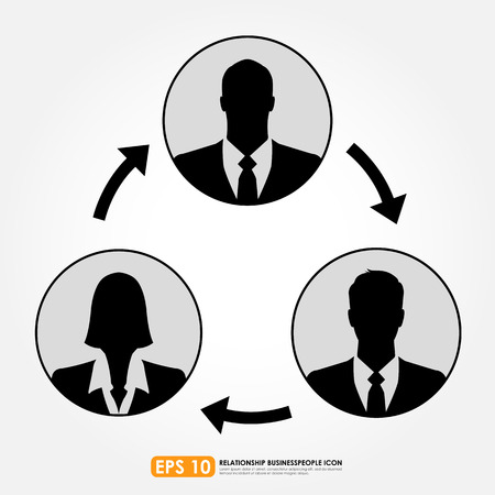 business relationship: Businesspeople icons linking with arrows - teamwork, connection & relationship concept