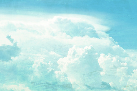 matted: Sky and clouds picture in distressed & retro style effect