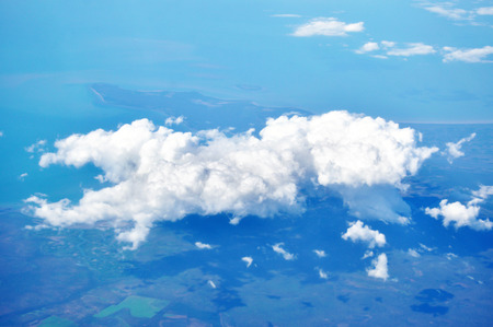 bird eye view: Aerial view of the earth, cloud & sky Stock Photo