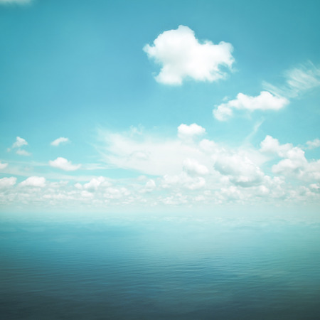 still water: Blue sea and sky as nature background in retro style lighting effect