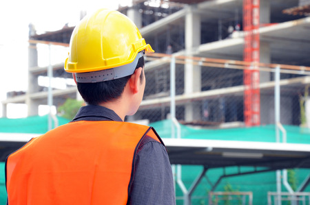 foreman: Engineer or foreman checking construction site Stock Photo