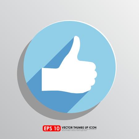 thumbs up icon: Pulgar hacia arriba icono en fondo azul del c�rculo