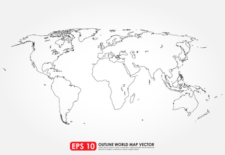 Flat world map outline Vector