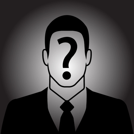 suspect: Businessman icon with question mark on the face - suspect concept