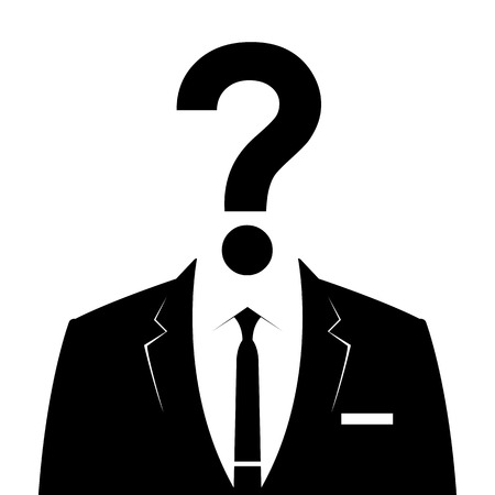 recruit suit: Businessman icon with question mark as a head - suspect concept