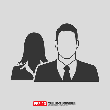 unisex: Male & female as businesspeople icon  -  couple, partner & teamwork concept