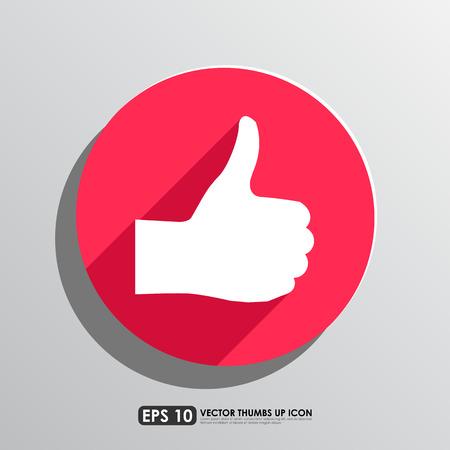 thumbs up icon: Pulgar hacia arriba icono en el fondo del c�rculo rojo