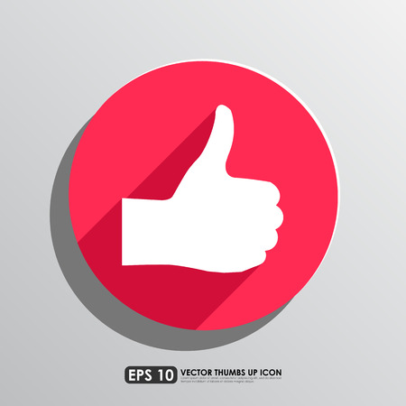 thumbs up icon: Thumbs up icon in red circle background