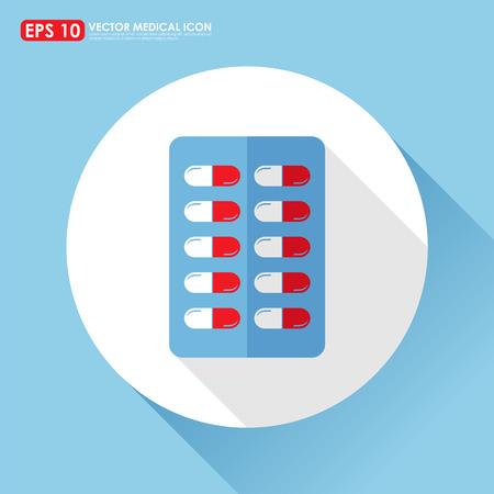 blister: Medicine icon - capsule pill in blister pack