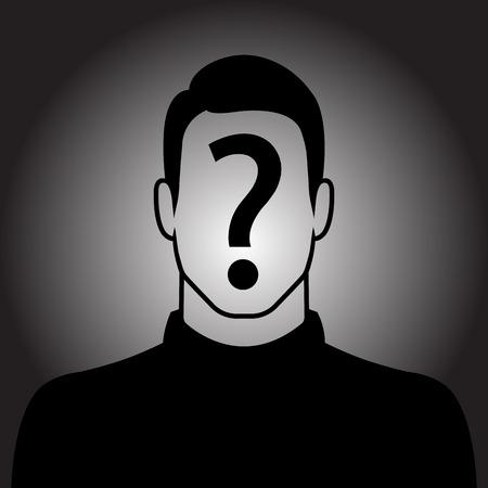 Hombre icono de la silueta con el signo de interrogación en la cara - concepto sospechoso Ilustración de vector