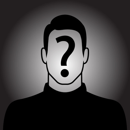 Male silhouette icon with question mark sign on the face - suspect concept Vettoriali