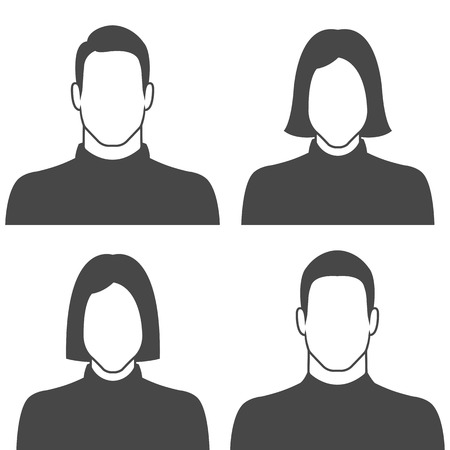man and woman sex: Male & female avatar profile picture icon set