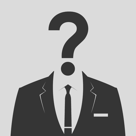 guess: Businessman icon with question mark as a head - suspect concept