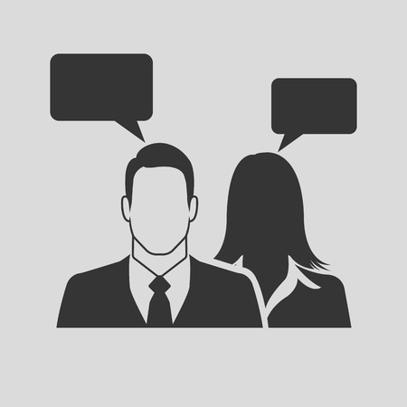 consulting services: Businesspeople icon with speech bubbles Illustration