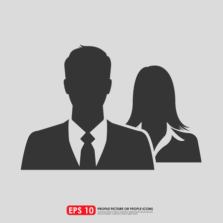 person: Male & female as businesspeople icon  -  couple, partner & teamwork concept