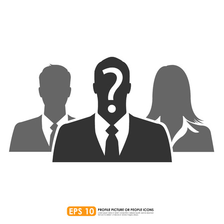 guess: Businesspeople icon with question mark sign Illustration