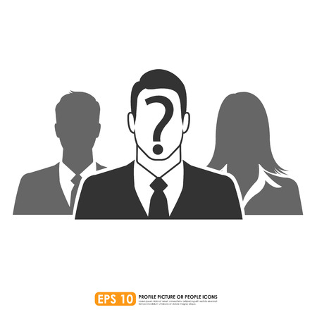 recruit suit: Businesspeople icon with question mark sign Illustration