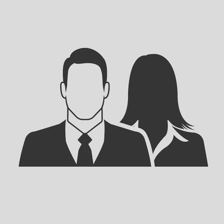 男性 & 女性実業家アイコン - カップル、パートナー & チームワークの概念として