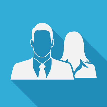 Male & female as businesspeople icon  -  couple, partner & teamwork concept Vector