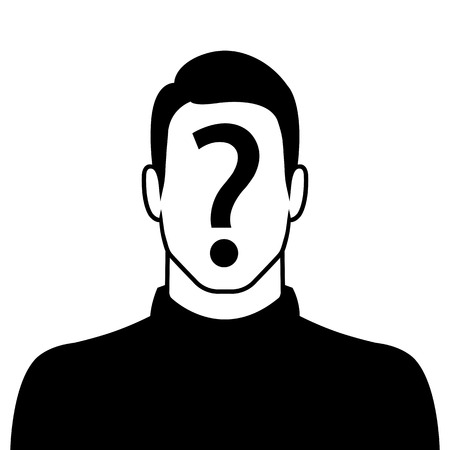suspect: Male silhouette icon with question mark sign on the face - suspect concept Illustration