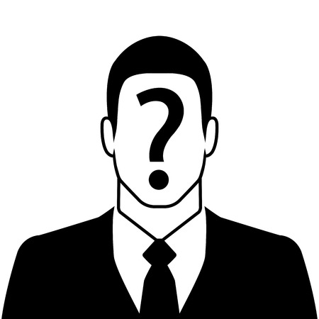 Businessman icon with question mark on the face - suspect concept