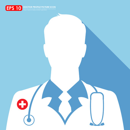 Doctor icon on light blue background