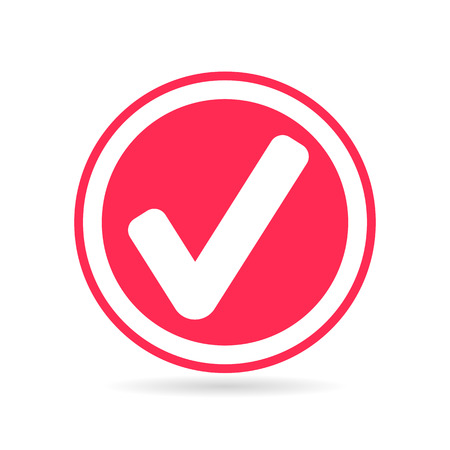tick icon: Check mark or tick icon in red circle