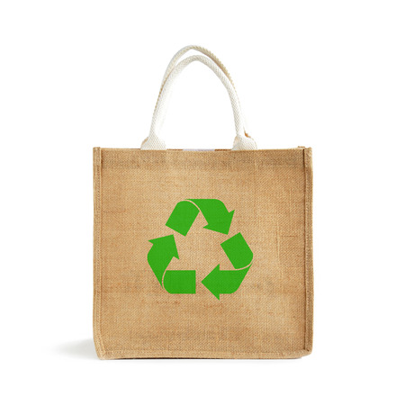 reusable: Hessian or jute shopping bag with recycle or reusable sign