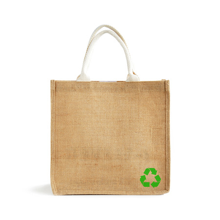 jute: Hessian or jute shopping bag with recycle or reusable sign