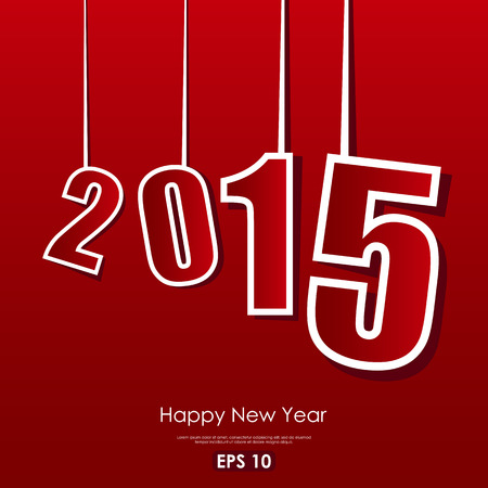 happy new year text: 2015 sign with Happy New Year text on red  background