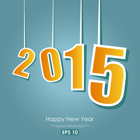 happy new year text: 2015 sign with Happy New Year text Illustration